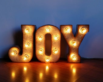 "Metal Marquee Sign 7"" JOY Marquee Lights"