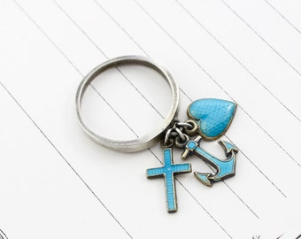 Antique Sterling & Enamel Faith Hope Charity Charm Ring, Victorian Blue Enamel Anchor Heart Cross, Bohemian Statement Jewelry Stacking Band