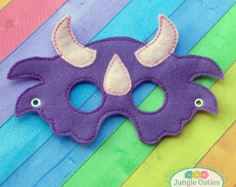 Girl Triceratops Mask (M013), Toddler's Mask for Dress-Up, Party Favors