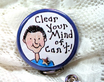 blue id badge holder for male teacher or coach,stand-out badge reel for teacher or coach,great gift for male teacher or coach