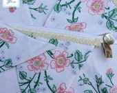 Flowery Wedding Bunting - Embroidered Linen Tablecloth Garland - Vintage Lace Fabric Hanging - White Pink Green Cream - Daisies Blue 3 Metre