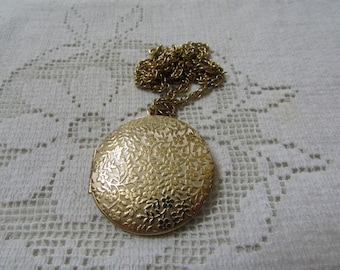 "Vintage Victorian revival ""engraved""  large round locket necklace"