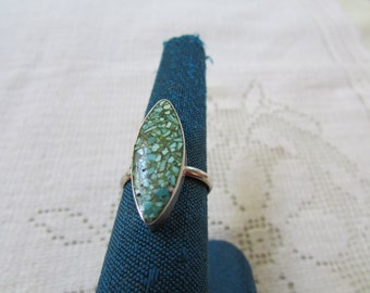 Vintage older Zuni or Navajo style inlay chip turquoise silver ring size 6 Native American Indian