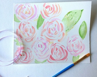 Shabby Chic Rose  Beach Decor Original Watercolor Pink English Rose Painting. 5x7. gift for best friend girlfriend, wife, fiance, bridesmaid