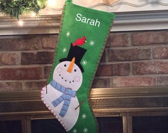 Snowman Applique Felt Christmas stocking, Applique Christmas stockings, Snowman stockings, Christmas stocking, Felt Stockings