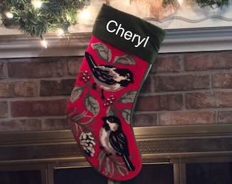 Tufted Chickadee Christmas stocking, Christmas stockings, Bird stocking, Chickadee stocking, tufted stockings, hooked stocking