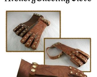 Archery Shooting Glove pattern - leathercraft pattern - PDF instant download ONLY