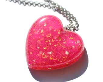 Magenta Gold Necklace Heart Shaped Hot Pink Gift Pendant Bright Colorful Unique Jewelry