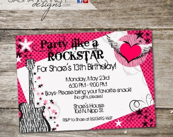 Girl's Rockstar Birthday Party Invitation • Teen Birthday Party Invitation • Zebra Print Birthday Party Invitation • Girly Birthday Party