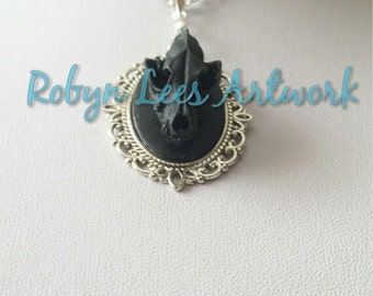 Black Resin Wolf Skull Necklace on Silver Crossed Chain or Black Faux Suede Cord, Anatomical