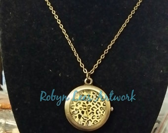 Leopard Animal Print Bronze Pocket Watch Necklace on Chain or Black Faux Suede Cord