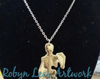 SALE Full Skeleton Printed Acrylic Necklace on Various Lengths of Chain