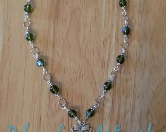 Light Vitrail Swarovski Crystal Necklace with Czech Glass Beads and Silver Bow