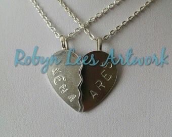 Hand Stamped Xena and Ares Split Heart Necklace Set of 2 Necklaces on Silver Chain, Brown Faux Leather Braided Cord or Black Faux Suede Cord