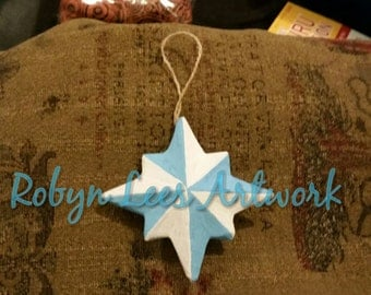Small White & Pale Blue Hand Painted Star Christmas Tree Hanging Ornament, Waterproof, Fadeproof with CoA. Art, Artwork, Festive, North Star