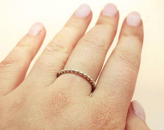 Ball ring ~ Silver ball ring ~ Stacking ring ~ Sterling silver jewelry ~ Modern jewelry ~ Minimalist ring ~ Silver band ~ Beaded ring