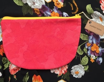 Red Zipper Pouch//Hand-Dyed