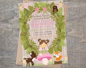 Woodland Fairy Invitation   Enchanted Forest Pixies Deer Fox Owl Wood Printable and Digital Birthday Invitation