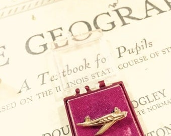 Vintage Gold Toned Miniature Airplane Pin Brooch