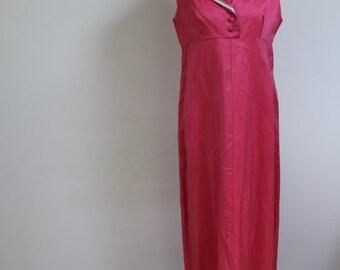 1960s pink dress vintage dress metallic dress pink dress size 10 colomn dress maxi dress full length dress 60s collar dress sleeveless dress