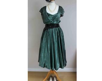 1950s prom dress green black dress satin dress stripy dress size 8 dress vintage dress swing dress striped dress silky dress 40s 50s