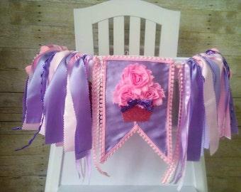 Cupcake High Chair Banner, High Chair Tutu, Pink and Lavender Birthday, Cupcake Birthday, 3D Cupcake, Wall Garland Banner