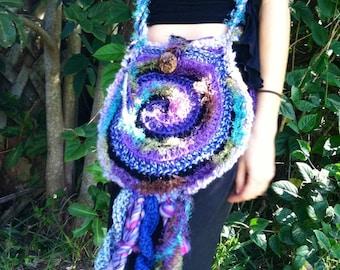 Cosmic spiral freeform boho bag