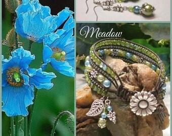 MEADOW Beaded Leather Wrap Cuff Bracelet, 5 Row Leather Wrap, Leather Cuff Bracelet, Boho Vintage Style Handmade Jewelry, Ravengirl Design
