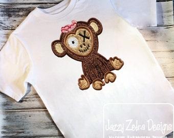 Zombie Monkey Appliqué Embroidery Design - monkey appliqué design - halloween appliqué design - zombie appliqué design