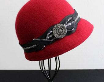 Wool Felt Cloche, Handmade, Cherry Red with Black and Silver Zipper and Silver Button Detail