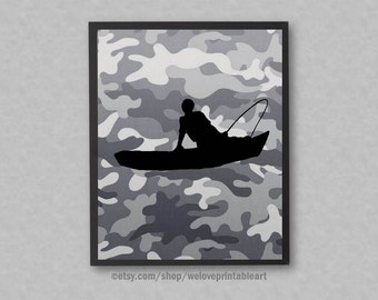 Hunting Fishing Gifts for Men, Hunting Camo, Fishing Gift for Dad, Fishing Print, Fishing Wall Art, Fishing Boat, Fishing Theme Decor, Sign