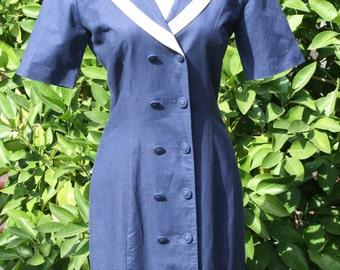 Laura Ashley Navy Blue Sailor Dress Vintage Clothes 1980's