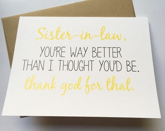sister in law card  etsy, Birthday card