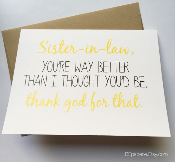 Sister in Law Card Sister Birthday Card Funny Sister Card – Funny Sister Birthday Cards