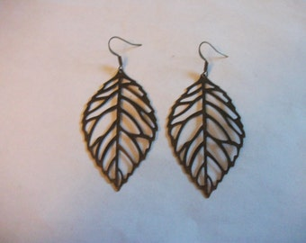 Large Antique bronze filigree leaf earrings