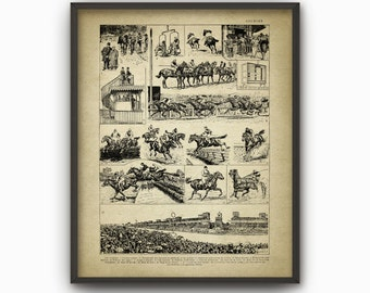 Horse Racing Print - Horse Racing Poster - Equestrian Wall Art - Horse Riding Gift Idea - Flat Racing - Jump Racing - Thoroughbred Horse Art