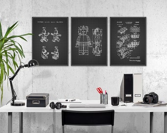 Lego Patent Prints Set Of 3   Lego Wall Art Poster Set   Lego Bedroom Art