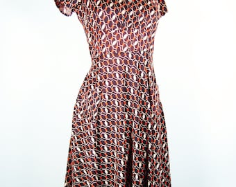 The Esther Dress in Chains Vintage Reproduction Day Dress 1930's Keyhole Cross Over Neckline with Twirl Skirt and Pockets S - 2XL