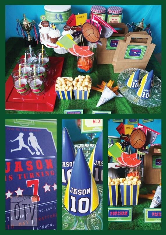 FOOTBALL - Soccer - Children's - Boys - Birthday - Standard PACKAGE - Green - Blue - Personalised - PRINTABLE - Pdf - Digital