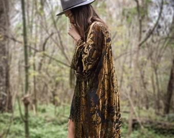30% OFF | Boho Kimono velvet Green  Gypsy , Women Boho Fringe Kimono Floral Kimono Tassels, Cape Jacket Gold