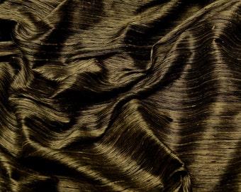 "Gold/Black Tie-dye Stripes Dupioni 100% Silk Fabric, 44"" Wide, By The Yard (SM-431A)"