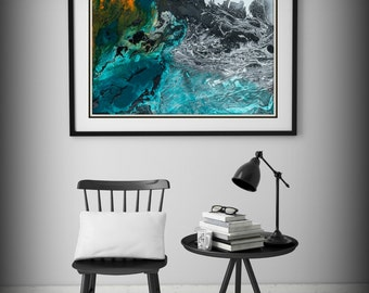 Large Abstract Painting Print Art, Abstract Art Print, Blue Art Print, Large Art Canvas Blue Painting Giclee, Gift Large Painting Print