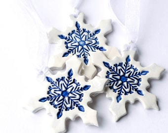 Ceramic Christmas ornaments, white Christmas decorations, snowflake ornament, Set of 3