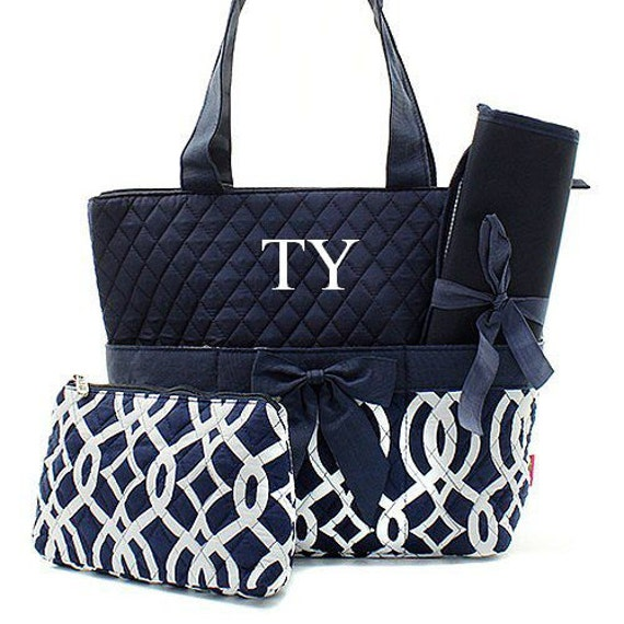 items similar to diaper bag personalized diaper bag monogrammed navy trellis diaper bag. Black Bedroom Furniture Sets. Home Design Ideas