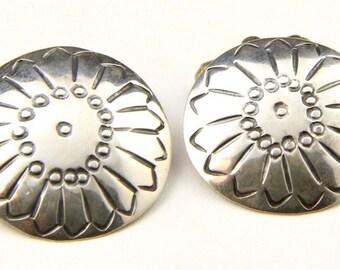 Vintage Sterling Silver Navajo Cufflinks Large Round Stamped Southwestern Cuff Links