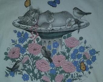 Vintage Kitten Floral Top 90s