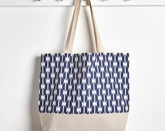 Navy Blue Market Tote Bag in Tomahawks, Farmers Market Bag, Machine Washable Bag, Packable Tote