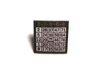 Enamel Bingo Card Pin, Game Card Brooch,