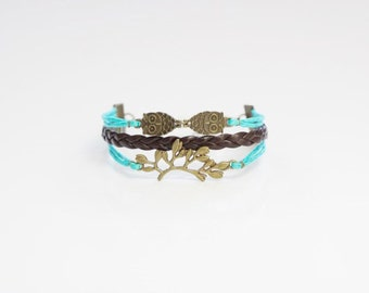 Owls Tree Branch Blue Bracelet
