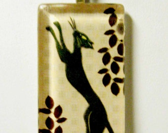 Green silhouette cat with red leaves pendant and chain - CGP02-089